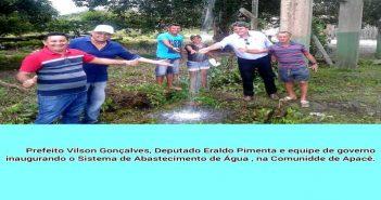 Prefeito Vilson Gonçalves, Deputado Eraldo Pimenta e Equipe de Governo Inaugurou o Sistema de Abastecimento de Água, na Comunidade de Apacê